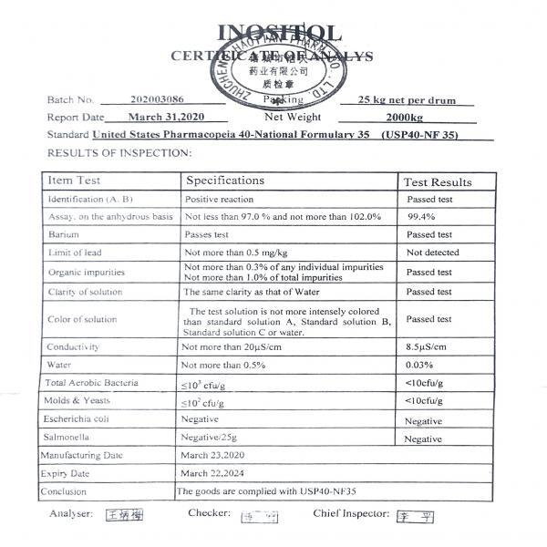 Myo Inositol Powder Certificate of Analysis